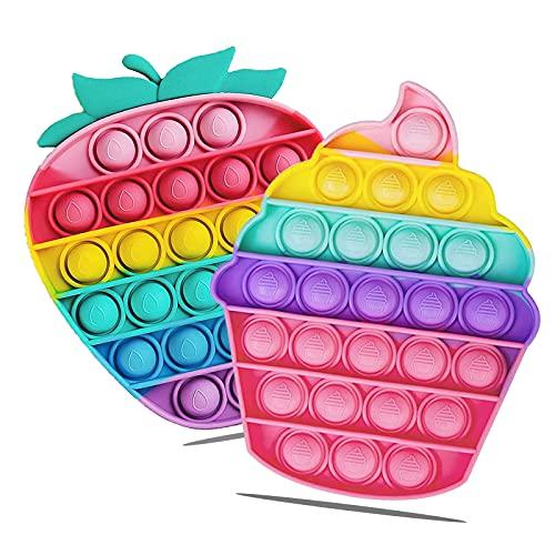 OBOVO Pop Set It, Plopper Spielzeug Anti Stress Regenbogen Silikon Stress Relief Sensory Squeeze Fidget Toy, Push Pop Poppet Bubble Kleine Geschenke für Erwachsene und Kinder Angstzustände Abzubauen