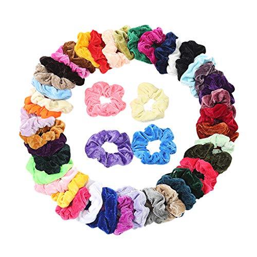 WARMWORD 45 Colores Velvet Elástico Hair Scrunchies,Lazos Elásticos De Banda Pelo Stretchy...