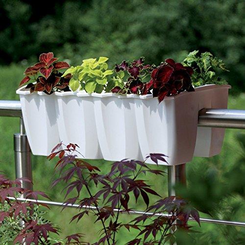 Blumenkasten WEIß 18l Balkonkasten Blumentopf Geländer Topf Groß