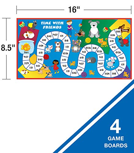 51Vfipz1BML - Carson Dellosa What Time Is It? Judy Clock Board Game Set—On The Farm, Time With Friends, Swim, Safari Time-Telling Board Games With Game Cards and Player Pieces, 2-4 Players, Ages 5+