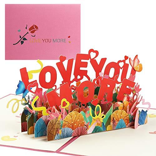 Kesote 3D Tarjetas de Boda Tarjetas de Felicitación Amantes Tarjetas de Regalo Día de San Valentín Aniversario (Love You More)