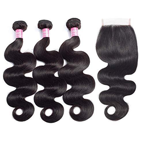 Body Wave Bundles with Closure Brazilian Body Wave Human Hair Bundles 10A Weave Bundles with Closure Virgin Human Hair 3 Bundles with 4x4 Closure(18 20 22+16 Closure)Remy Hair Bundles Natural Color