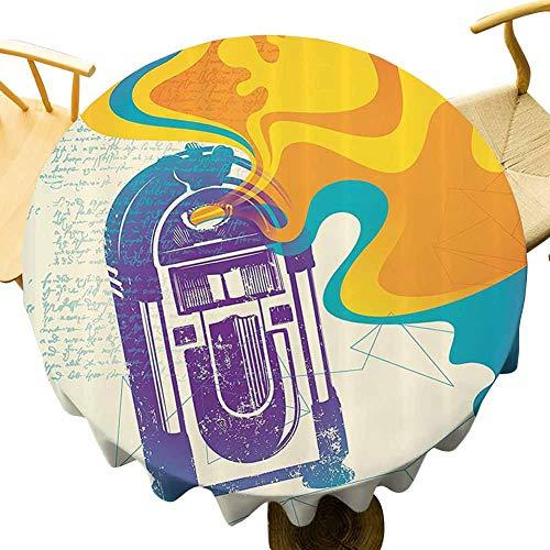 Jukebox mesa redonda restaurante retro vintage radio caja de música con caléndula amarillo abstracta niebla como imagen celebración festival púrpura y azul diámetro 60 pulgadas