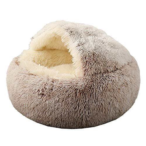 MIEMIE Cat Bed Round Soft Plush Burrowing Cave Hooded Cat Bed Donut for Dogs & Cats, Faux Fur Cuddler Round Comfortable Self Warming pet Bed, Machine Washable, Waterproof Bottom, Small, Coffee