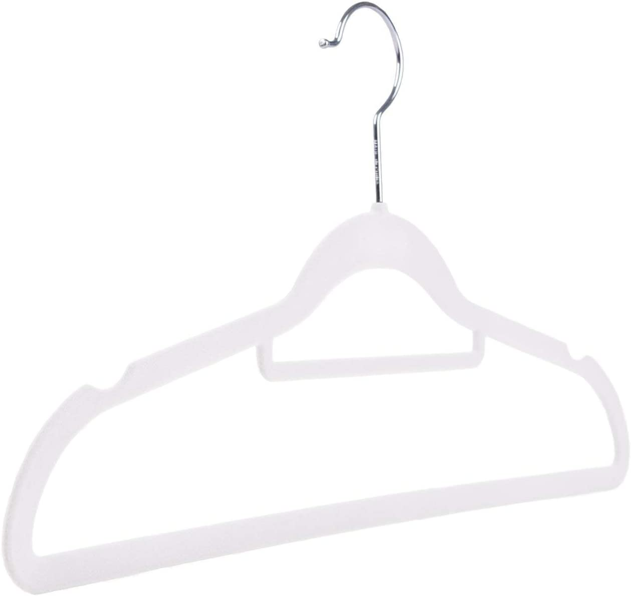 The Hanger Store 30 White Non Slip Flocked Velvet Space Saving Coat Hangers With Trouser Bar Amazon Co Uk Kitchen Home