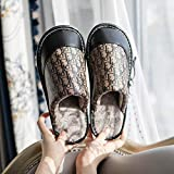 ypyrhh Interior Zapatillas Invierno Al Aire Libre,Home Furry Slippers, Non-Slip Waterproof Cotton Slippers-Brown_40-41