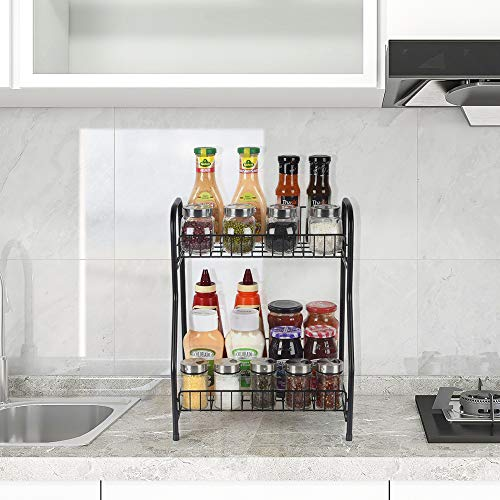 Spice Rack Organizer Storage Shelf, 2-Tier Bathroom Shelf Organizer Countertop, Kitchen Rack Organizer for Spice Can Sauce Jars Bottle (Black)