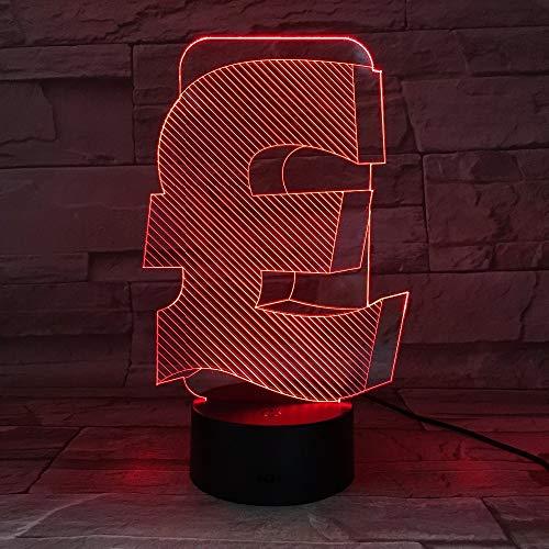 UK Pound Symbol Office Friend Business Night Light 3D LED Lámpara de mesa niños regalo de cumpleaños decoración de la habitación junto a la cama