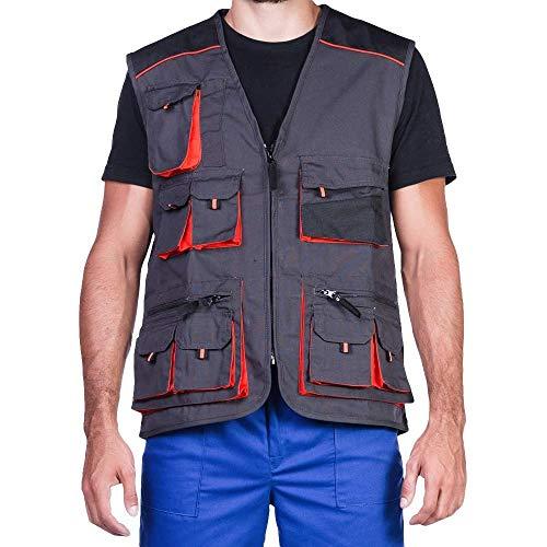Stens Arbeitsweste mit zehn großen Taschen, Montageweste, Herren, 280g. Perfekt geeignet für Techniker und Bauarbeiter,Grau und Orange.62