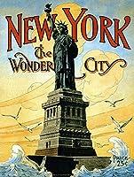ニューヨークワンダーシティ.インチのブリキの看板ヴィンテージの鉄の絵の金属板ノベルティの装飾クラブカフェバー。