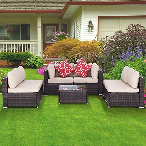 Aclumsy 7-Piece Modular Outdoor Conversational Furniture Set, Wicker Sectional Sofas