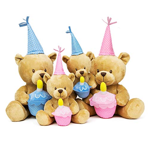 FRANKIEZHOU Happy Birthday Bear Stuffed Animal 4 Pack Bear Plush Soft Toys with Cupcake and Candle Gift for Kids Girls Boys, Pink ,Blue