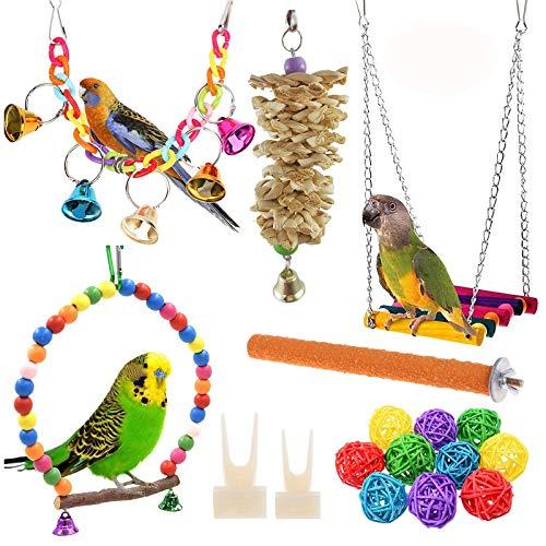 GQFGYYL-QD 12 Piezas de Juguete para Masticar con Columpio de Loro, Campana Colgante, Accesorios de Juguete para Jaula de Pájaros, Adecuado para Pinzones, Periquitos, Guacamayos, Agapornis