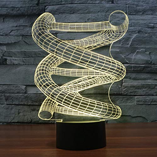 KangYD 3D Night Light Creative Spiral Shape, LED Optical Illusion Lamp, E - Alarm Clock Base(7 Color), Modern Lamp, Fashion Light, Visual Lamp, Sleeping Lamp, Kid Gift