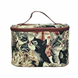 Signare Tapestry Toiletry Bag Makeup Organizer bag for Women with Cat Print Design (TOIL-CAT)