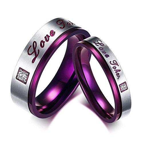 Beglie 2 Stück Edelstahl Verlobungsring Herz Silber Trauringe mit Aussengravur Lila Silber Ring Zirkonia Set für Frauen Männer Frau:60 (19.1) & Mann:57 (18.1)