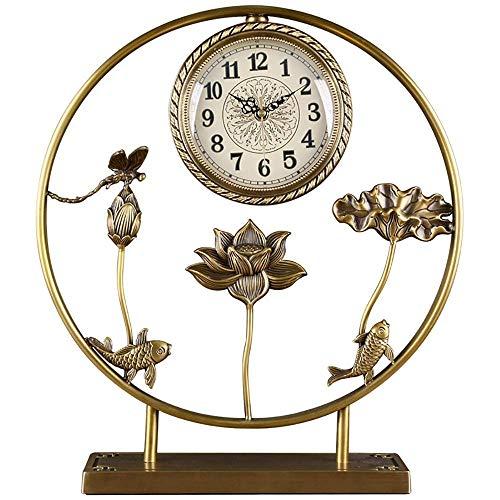 Reloj de decoración de muebles con decoración de carpa y loto Reloj de escritorio Diseño silencioso Reloj de manto de cobre Reloj retro de escritorio con pilas para decoración de sala de estar Anti