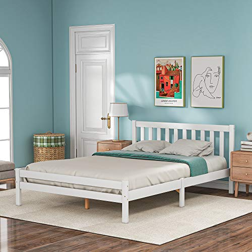 BTM Wooden Bed Frame, Double Bed 4ft6 Solid Wooden Bed Frame, Bedroom Furniture for Adults, Kids, Teenagers (135 x 190 cm, White)