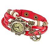 Taffstyle Damen-Armbanduhr Analog Quarz mit Leder-Armband Geflochten Charms Anhänger Uhr Retro Vintage Anker Gold Rot