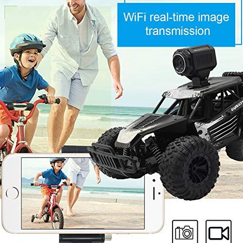 AimdonR Auto telecomandata 2,4 G High Speed 4 WD Racing Hobbie Caterpillar elettrico giocattolo interattivo bambino bambino fotocamera forata veicolo, Nero , telecamera