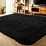 LOCHAS Ultra Soft Indoor Modern Area Rugs Fluffy Living Room Carpets Suitable for Children Bedroom Home Decor Nursery Rugs 4 Feet by 5.3 Feet (Black)