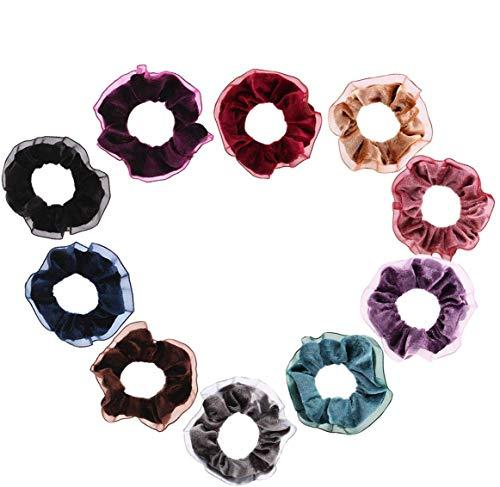 Chouchous élastiques en velours avec dentelle, accessoires pour cheveux pour femmes, enfants (10 couleurs)
