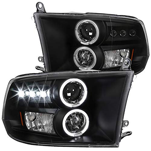 Spec-D Tuning Dual Halo Led Projector Headlights Black for 2009-2019 Dodge Ram 1500 2500 3500 Head Light Assembly Left + Right Pair