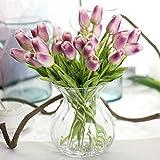 CQURE Flores artificiales, ramo de flores de imitación, tulipanes de seda reales al tacto para ramo de novia, decoración floral para fiesta de boda de jardín, 10 unidades