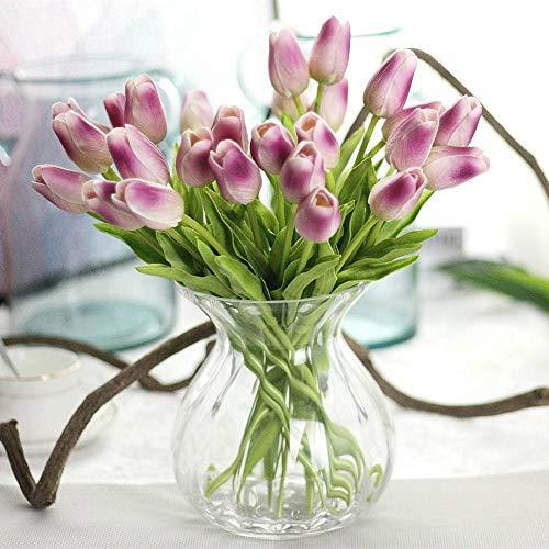 CQURE Unechte Blumen,Künstliche Deko Blumen Gefälschte Blumen Blumenstrauß Seide Tulpe Wirkliches Berührungsgefühlen, Braut Hochzeitsblumenstrauß für Haus Garten Party Blumenschmuck 10 Stück (Lila)