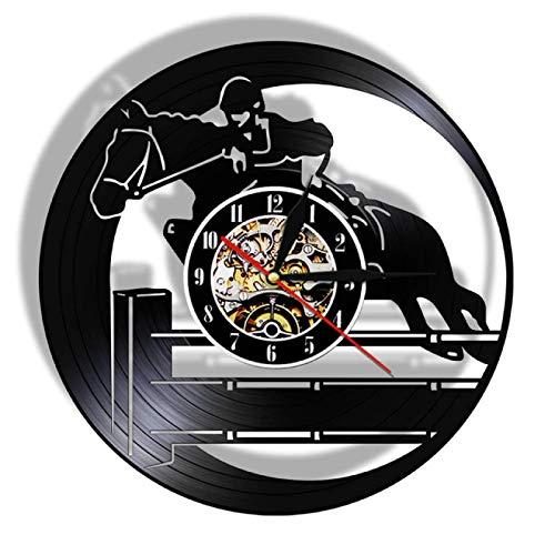 TeenieArt Deporte De Equitación Reloj De Pared De Vinilo con Luz Led Reloj De Pared con Luz De Vinilo Decoración De La Pared Interior La Mejor Idea Interior Decoración Interior Única