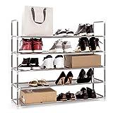 Meerveil Etagère à Chaussures 5 Couches Armoire à Chaussures Porte-Chaussures en Metal pour 50 Paires de Chaussures Organiseur à Chaussures pour Salon Entrée (Gris, 5 Couches)