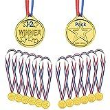 Medallas de Oro 12 Piezas, Medallas Niños de Winner Plástico Estilo Olímpico Premio Medallas con Ribbon, Idea para niños Infantiles Fiesta Deportiva Juegos Competencia Juguetes Premio Premios