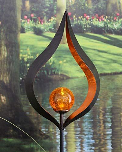 Kamaca XL LED SOLAR Gartenstab Wegeleuchte Gartenleuchte KELCH Metallstab mit beleuchteten Acryl-Kugel mit 1 Amber LED SOLARPANEL inklusive Erdspieß (Kelch)