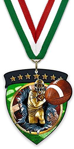 Unbekannt Großes Medaillon/Magnet aus Metall – American Football – aus Stahl in Schwarz – mit Band zur Auswahl und Rückseite mit einem starken Magnet, Grün - Weiß - Rot