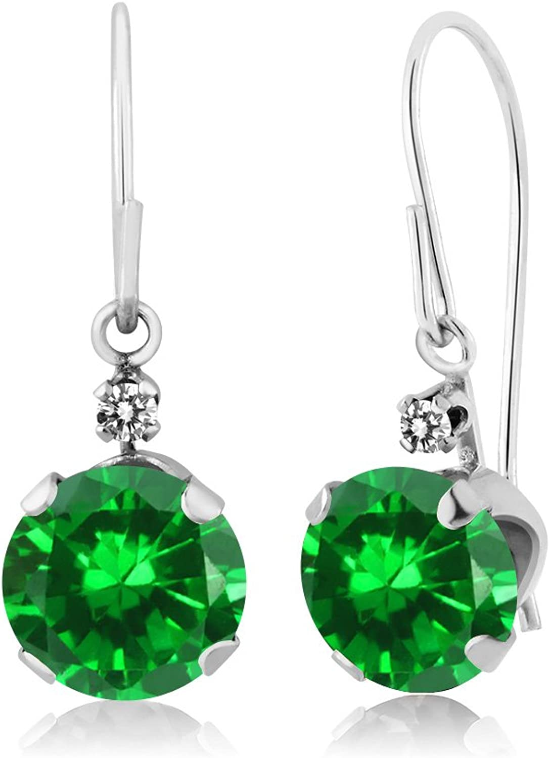 3.03 Ct Round Green Simulated Emerald White Diamond 14K White gold Earrings