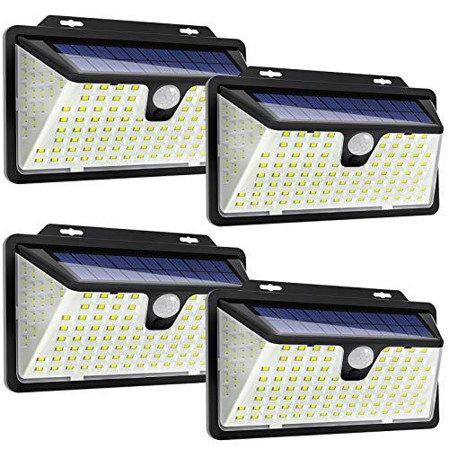 Solarlampen für außen mit bewegungsmelder,[4 Stück] WOWDSGN 128 LED Solarleuchte Wandleuchte Außen 4 Betriebsmodi 270° Beleuchtungswinkel 2000mAh IP65 wasserdicht