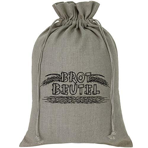 EXPRESS-STICKEREI Leinen Brotsack 100% Bio Naturleinen Brotbeutel -BROTKORB- Bestickt nachhaltige Beutel für selbstgemachtes Brot, Baguette Wiederverwendbare Brottasche Leinenbeutel Einkaufstasche