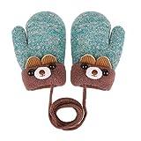 Kinder Handschuhe Winter Strickhandschuh Fausthandschuh Baby Cartoon Cubs Fäustlinge Halshandschuhe Warm Plüsch Gloves mit Schlüsselband für 0-3 Jahre Mädchen Junge