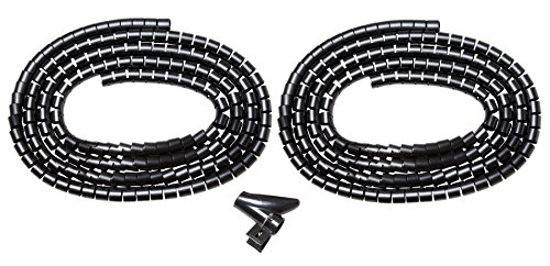 Kabelspirale Schwarz - 2 St. Jeweils 2 Meter Lang - Kabelschlauch, Spiralschlauch, Kabelschutzschlauch, Kabelhülle - Flexibler Plastik PVC Kabel sleeve (DESKIT - Premium Qualität).