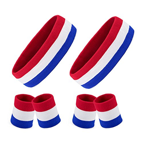 2 Sets Striped Sweatbands Set, 2 Pieces Sports Headband and 4 Pieces Wristbands Sweatbands Colorful Cotton Striped Sweatband Set American Flag Style for Men and Women (Red White and Blue)