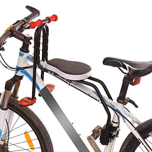 AGUOGUO Asientos Delanteros de la Bicicleta de montaña Mat para niños Silla de Seguridad de Bicicletas de bebé con armustes Bar Pedal Ciclismo Accesorios (Color : Black)