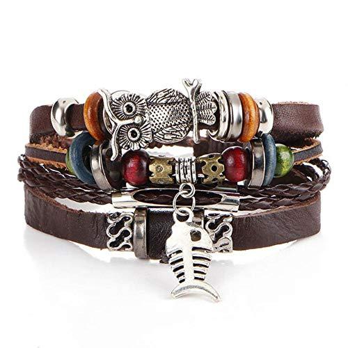 ASIG Handgemaakte Veer Leaf Heren Armbanden Voor Mannen Multilayer Lederen Accessoires Mannelijke Braclet Vriendschap Sieraden