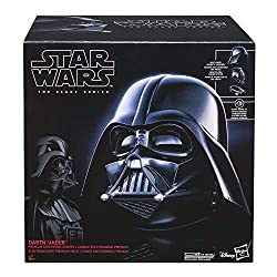 Realistically detailed interior and exterior reproduction of Darth Vader's iconic helmet Multi-piece, adjustable fit with collar piece, mask piece, and hood piece Collector-grade quality helmet with iconic breathing sound effects Magnetic connection ...