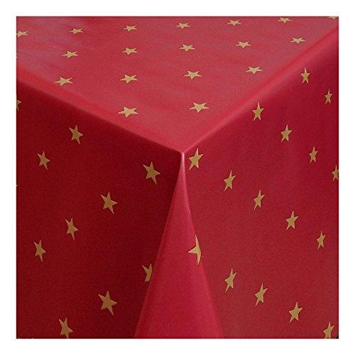 WACHSTUCH Tischdecken Wachstischdecke Gartentischdecke, Abwaschbar Meterware, Länge wählbar,Christmas Star Goldene Sterne auf rotem Grund (280-03) 110cm x 140cm