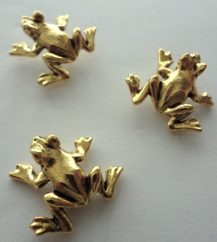 Frog Decorative Push Pins, 15 Pieces, Gold - T-04AG