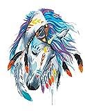 Fuumuui Lienzo de Bricolaje Regalo de Pintura al óleo para Adultos niños Pintura por número Kits Decoraciones para el hogar -Weißes Pferd mit Mark 16 * 20 Pulgadas