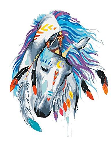 WATAKA Pintura por Números para Adultos y Niños DIY Kits de Pintura al óleo de Lona preimpresos con Marco de Madera para la Decoración De La Casa - Caballo Blanco F 16 * 20 Pulgadas