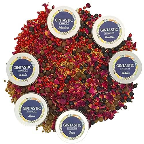 GIN BOTANICALS GINTASTIC Spices&Flowers | Das premium Geschenk-Set mit 5 Gin-Gewürzen und Rosenblüten | Pimp up your Gin!