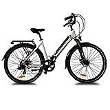 URBANBIKER Vélo électrique Ville Mod. Sidney, Batterie Lithium ION 504 Wh (14 Ah 36 V), Freins hydrauliques Shimano Couleur Blanc, 28 Pouces.