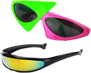 15ea498ec1 P Prettyia 2 Unids Gafas de Sol Estrecho Futurista Plástico Accesorios para  Fotografía Disfraces de Halloween